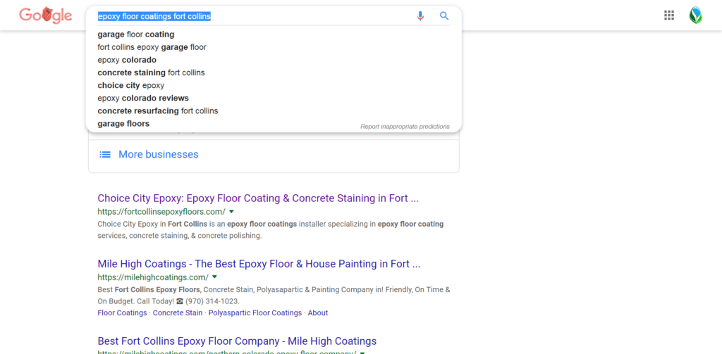 Choice City Epoxy Word{ress SEO results and Audit - Page One Results!