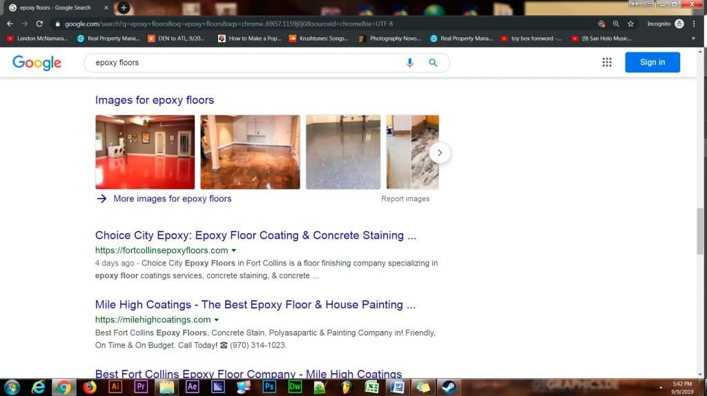 Page 1 rank 1 SEO results for Choice City Epoxy